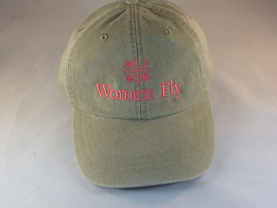 Women Fly Hat: Khaki/Coral Pink  Embroidery