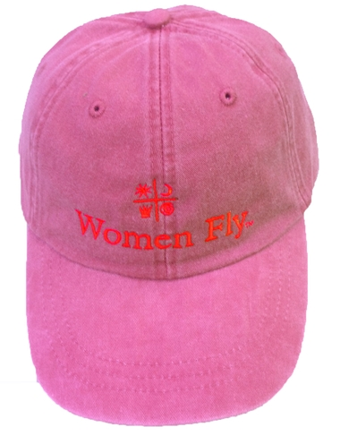 Women Fly Hat: Raspberry Hat/Red Embroidery