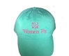 Women Fly Hat: Sea Green Hat/Coral Embroidery