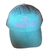Women Fly Hat: Teal Blue Hat/Pink Embroidery