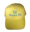 Women Fly Hat: Yellow Hat/Teal Blue Embroidery