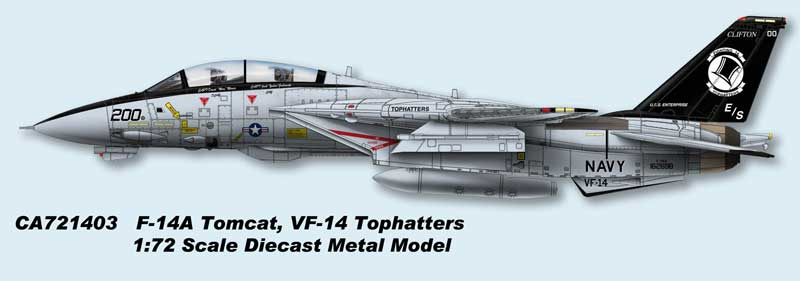 F-14A Tomcat, USN VF-14 Tophatters, AJ200, USS Enterprise (1:72) - Preorder item, order now for future delivery