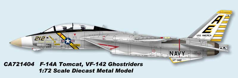 F-14A Tomcat, USN VF-142 Ghostriders, AE212, USS America, 1976 (1:72) - Preorder item, order now for future delivery