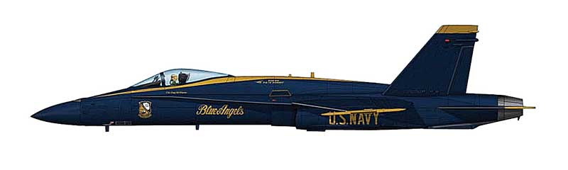 F/A-18A Hornet U.S. Navy Blue Angels, 2010, With Decals for Planes 1-7 (1:72)