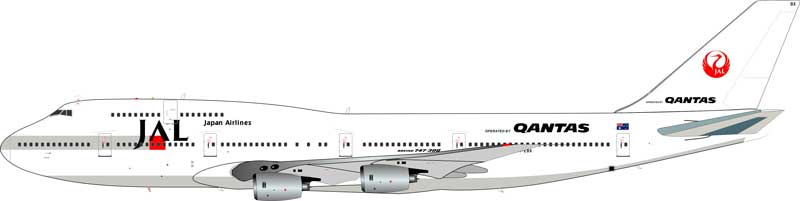 Japan Airlines JAL Boeing 747-300 VH-EBX Qantas/JAL livery (1:200) - Preorder item, Order now for future delivery