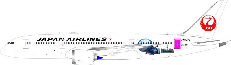 "JAL Boeing 787-8 Dreamliner JA837J ""Doraemon""(1:200) - Preorder item, Order now for future delivery"