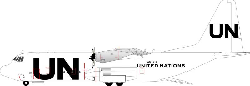 United Nations Lockheed L-100-30 Hercules (L-382G) ZS-JIZ (1:200)