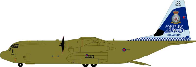 Royal Air Force Lockheed Martin C-130J-30 Hercules C4 (L-382) ZH866, 206 Squadron, 100 Years (1:200)