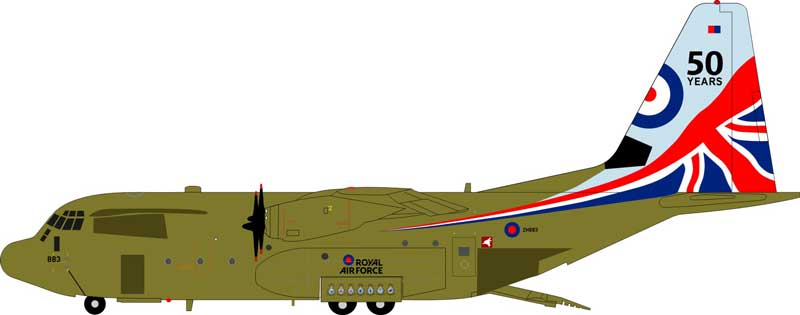 "Royal Air Force Lockheed Martin C-130J Hercules C5 (L-382) H883 ""50 Years"" (1:200)"