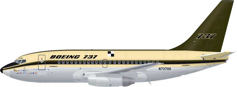 Boeing 737-100 N73700 Prototype Livery, 737 50th Anniversary, Polished, With Gold Stand (1:200) - Preorder item, order now for future delivery