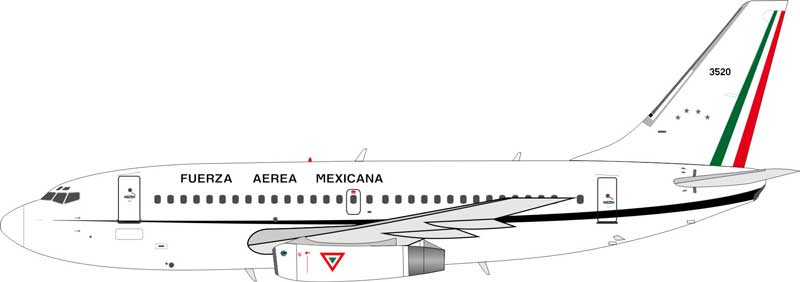 Fuerza Aerea Mexican (Mexican Air Force) Boeing 737-200 3520 (1:200) - Preorder item, Order now for future delivery