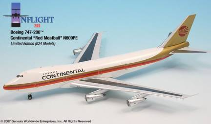 Continental B747-200 Red Meatball (1:200)