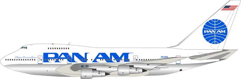 "Pan Am Boeing 747SP N538PA polished with stand (1:200) ""Clipper Princess Grace"""