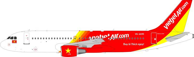 VietJet Air Airbus A320-214 VN-A695 (1:200) - Preorder item, Order now for future delivery