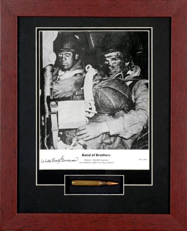 "Band of Brothers Framed Photographsigned by"" Wild Bill"" Bill Guarnere with Bullet Relic"