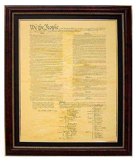 Constitution Reproduction on aged parchment, Framed and Matted