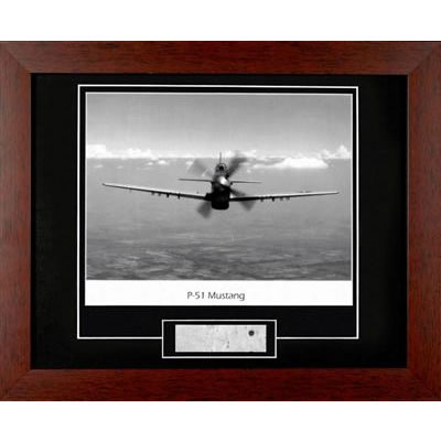 P51 Mustang Photograph Framed with Metal Relic