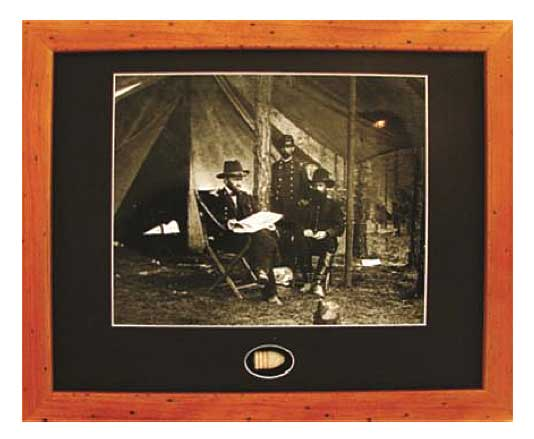 Ulysses Grant in camp Framed Photograph with Union bullet