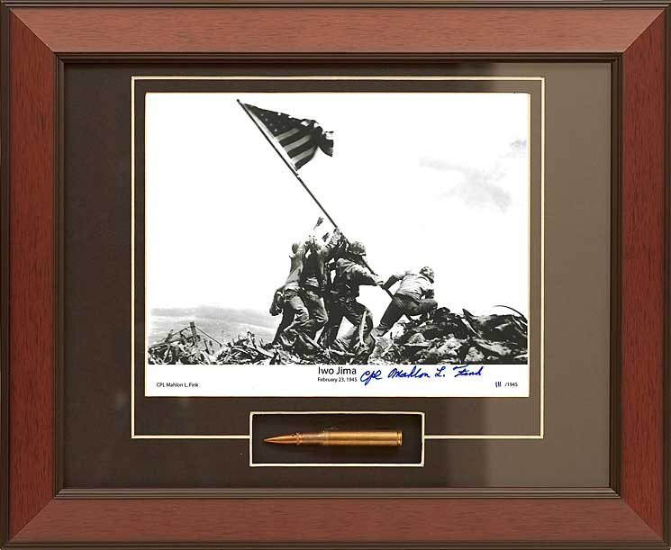 Iwo Jima with Survivor Mahlon Fink signature Framed Photograph