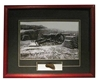 Civil War Parrott Cannon Framed photograph Matted to include authentic cannon fragment