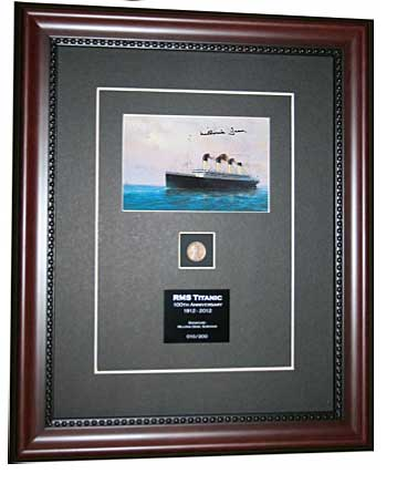Titanic Postcard signed by Millvina Dean Framed and Matted to include 1912 wheat penny and plaque