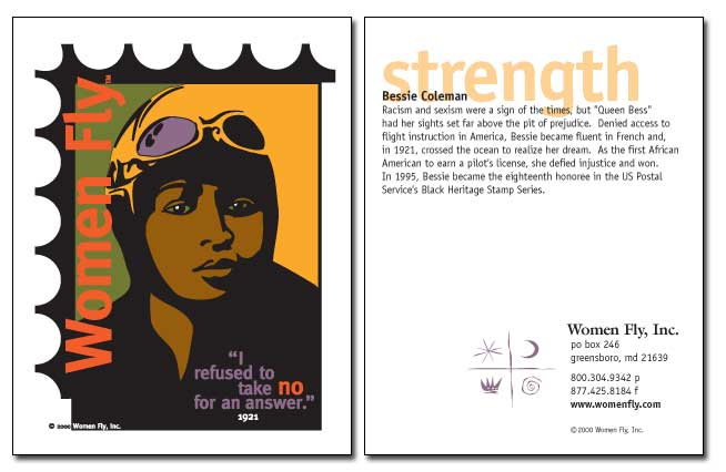Bessie Coleman / Strength - Women Fly Aviation Notecards - Pack of 8 Cards