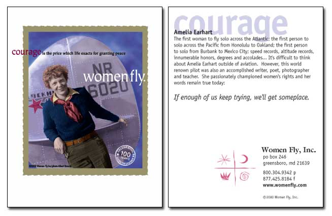 Amelia Earhart / Courage - Women Fly Aviation Notecards - Pack of 8 Cards