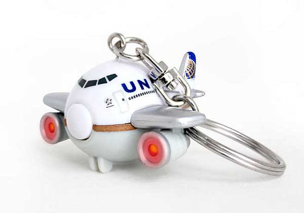 United Airlines Keychain W/LIGHT & Sound Post Continental