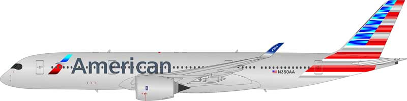 American Airlines A350-900 N350AA (1:200) Flaps Down Configuration - Preorder item, order now for future delivery