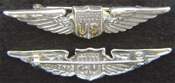 WWI US Pilot Wings Shirt Size Sterling with Gold Plate WWI, Army Air Service Pilot, Pilot, WWI Pilot