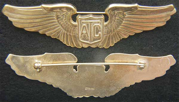 WWII Air Transport Command Pilot Wing Sterling Gold Plate ATC, WWII ATC, WW2 ATC, Air Transport Command