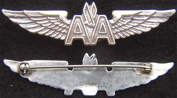 American Airlines Sterling Stewardess Wings Sterling Type II American Airlines, American Stewardess, Stewardess
