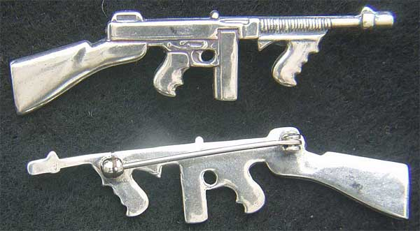 "Thompson SubMachine Gun Pin in Sterling Silver Thompson gun, sub machine gun, submachine gun, Thompson Submachine, ""Tommy Gun"", ""Trench Broom"", ""Trench Sweeper"", ""Chicago Typewriter"", ""Chicago Piano"", ""Chicago Style"", and ""The Chopper""."