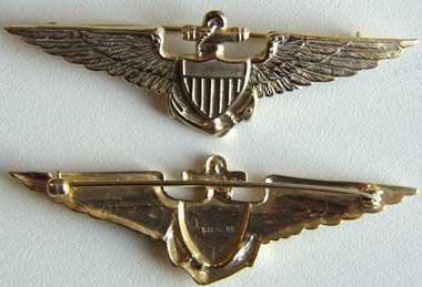 WW I Navy Pilot Wing Sterling w Gold