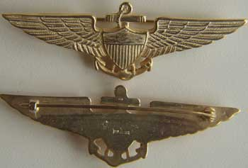 Navy Pilot Wing 1922 Sterling w Gold