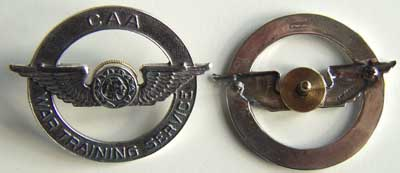WWII CAA Hat Badge Sterling