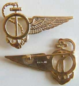 WWI Navy Observer Wing Sterling w Gold