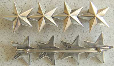 WWII 4 Star insignia Sterling Pin Back 4 star sterling rank