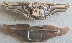 WWII WASP Pilot Class W-1 Wing Sterling Version 2  Gemsco Aerial Gunner, WWII Gemsco aerial gunner wing, aerial gunner sterling,  Aerial Gunner, Gemsco