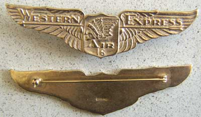 Western Air Express Number 16 Sterling w Gold Western Air Express, Western Air Express Number 16 Pilots Wing Sterling, TWA , Western Air, TWA Pilot