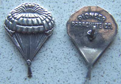 Pioneer Parachute Pin Sterling Silver Parachute, Paratrooper, Paraglider, Pioneer Parachute