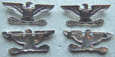WWII Colonel War Eagles Oversized 2 inch Sterling Full Bird, Bull colonel, war eagles, sterling colonel, colonel, colonel rank, colonel insignia, war eagle, sterling war eagle