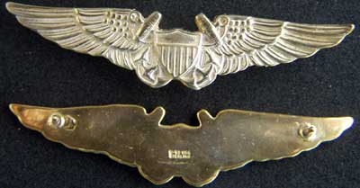 Naval Flight Officer wing Sterling Gold Plate