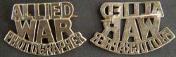 WWII Allied War Photographer Shoulder Badge British brass War Photographer