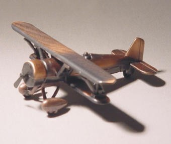 Antique Die-cast Metal Biplane Pencil Sharpener
