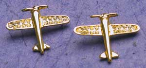 Gold Crystal Airplane Earrings