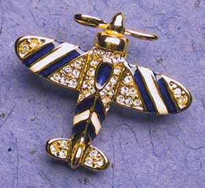 Blue & White Airplane Crystal Pin