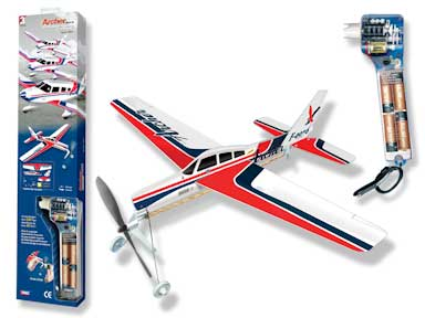 "Archer SkyRyder - Giant Ruberband Powered Model - 18.9"" Wingspang (with Electric Winder)"