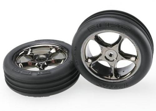 Tires And Wheels - Assembled (Tracer 2.2 Inch Black Chrome Wheels - Alias Ribbed 2.2 Inch Tires) (2) (Bandit Front - Medium Compound W/ Foam Inserts)