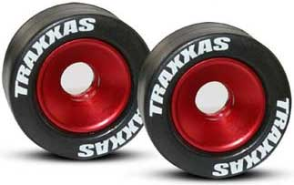 Mounted Wheelie Bar Tires/Wheels Red (2)